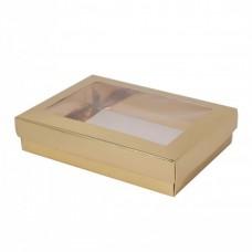 Sober ask och lock fönster 159x112x32 mm guld (100-pack)