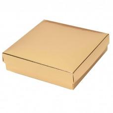 Sober ask och lock 125x125x32 mm guld (100-pack)