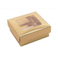 Sober ask och lock fönster 78x82x32 mm guld (100-pack)