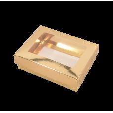 Sober ask och lock fönster 112x82x32 mm guld (100-pack)