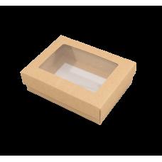 Sober ask och lock fönster 112x82x25 mm natur (100-pack)