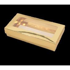Sober ask och lock fönster 159x78x32 mm guld (100-pack)