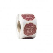 Etikett God jul Sigill natur/röd 48 mm (500-pack)