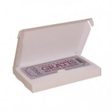 Presentkortsask med fast lock 160x105x18 mm vit med hållare (100-pack) UTGÅENDE