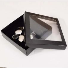 Smyckesask Sober fönster 125x125x32 mm svart (100-pack)